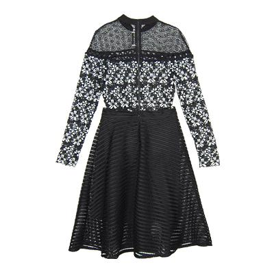 floral lace shirt & leather punching flare skirt